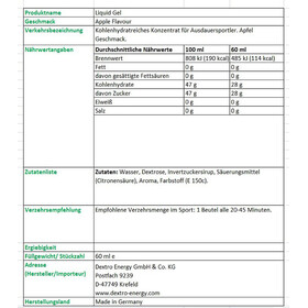 Dextro Energy Liquid Gel - Nutrición deportiva - Apple 60ml gris